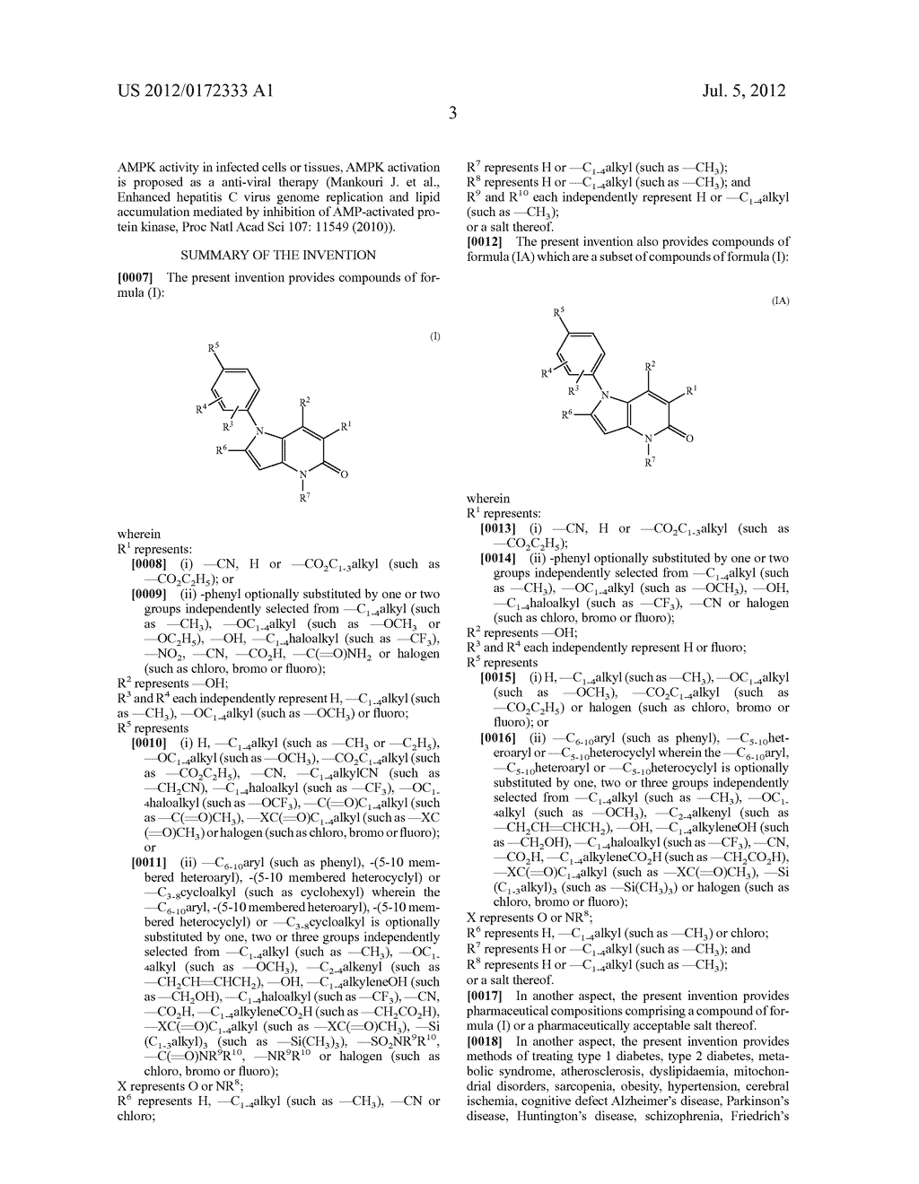 PYRROLO-PYRIDINE DERIVATIVES AS ACTIVATORS OF AMPK - diagram, schematic, and image 04