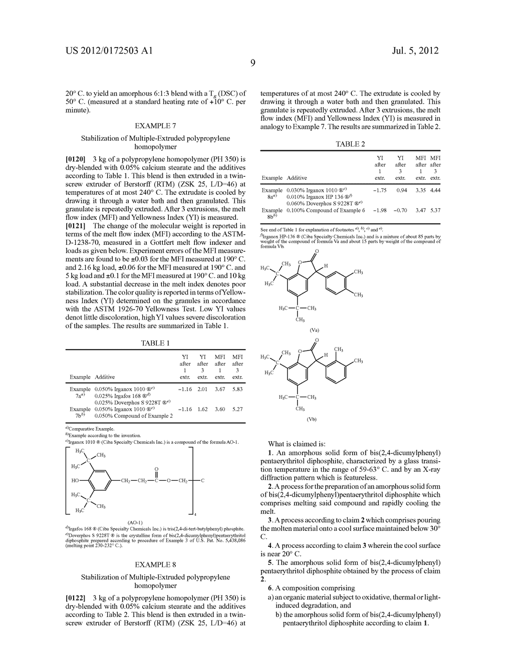 AMORPHOUS SOLID MODIFICATION OF BIS(2,4-DICUMYLPHENYL) PENTAERYTHRITOL     DIPHOSPHITE - diagram, schematic, and image 10