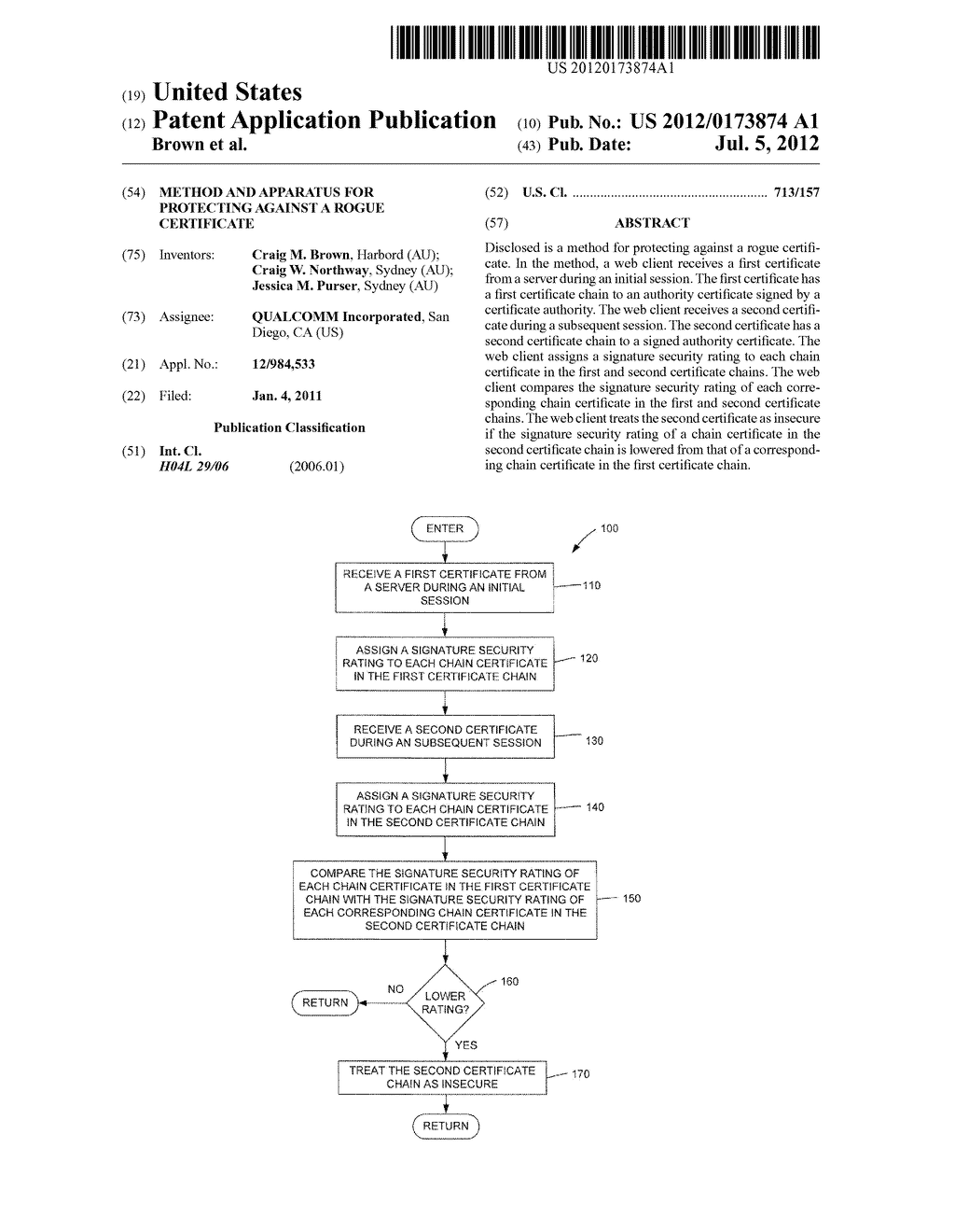Method And Apparatus For Protecting Against A Rogue Certificate - diagram, schematic, and image 01