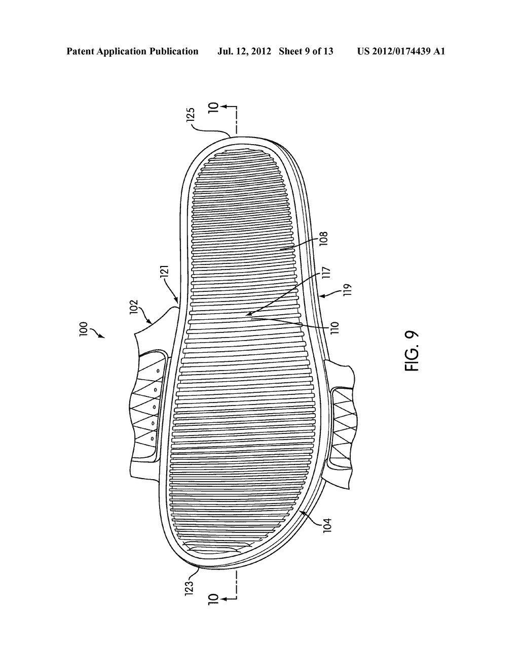 Article of Footwear with Ribbed Footbed - diagram, schematic, and image 10