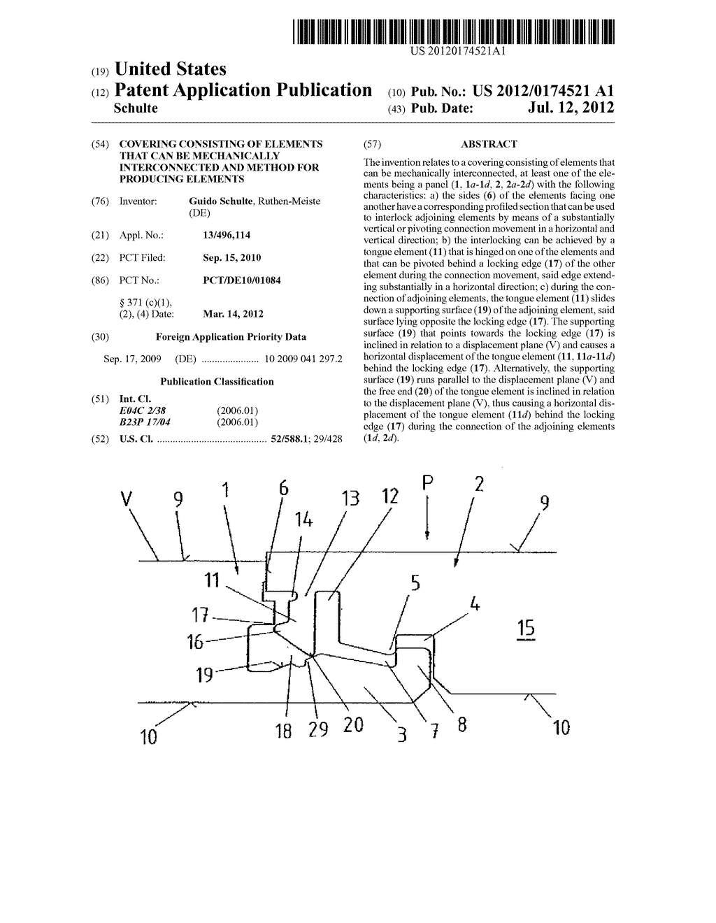 COVERING CONSISTING OF ELEMENTS THAT CAN BE MECHANICALLY INTERCONNECTED     AND METHOD FOR PRODUCING ELEMENTS - diagram, schematic, and image 01