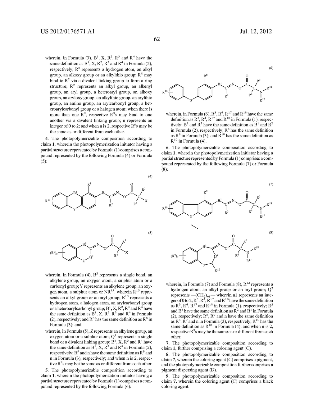 POLYMERIZABLE COMPOSITION, COLOR FILTER, AND METHOD OF PRODUCING THE SAME,     SOLID-STATE IMAGING DEVICE, AND PLANOGRAPHIC PRINTING PLATE PRECURSOR,     AND NOVEL COMPOUND - diagram, schematic, and image 63