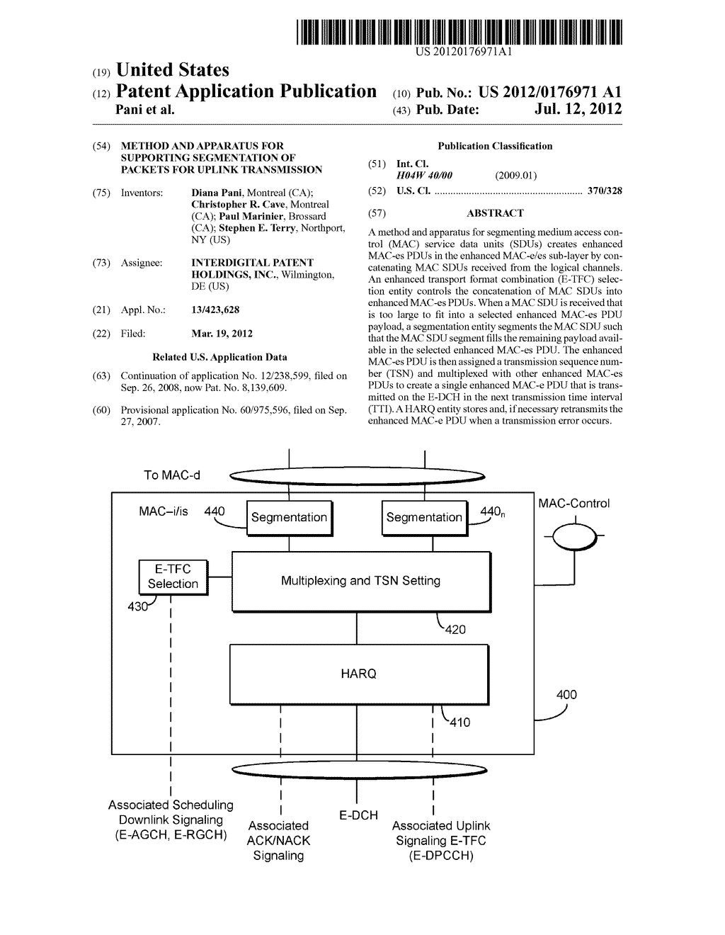 METHOD AND APPARATUS FOR SUPPORTING SEGMENTATION OF PACKETS FOR UPLINK     TRANSMISSION - diagram, schematic, and image 01