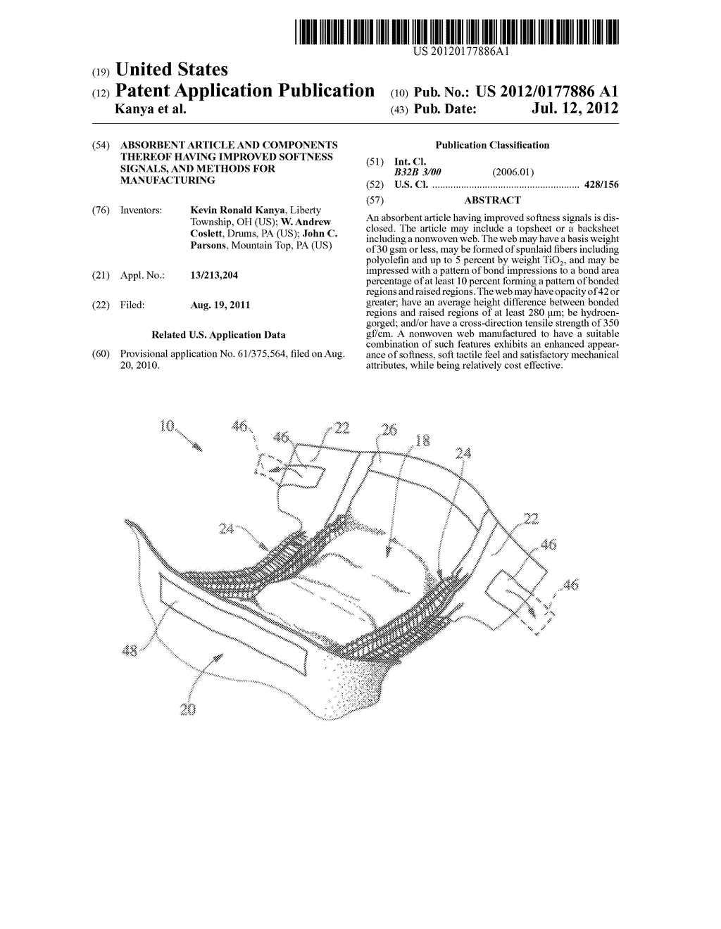 Absorbent Article and Components Thereof Having Improved Softness Signals,     and Methods for Manufacturing - diagram, schematic, and image 01