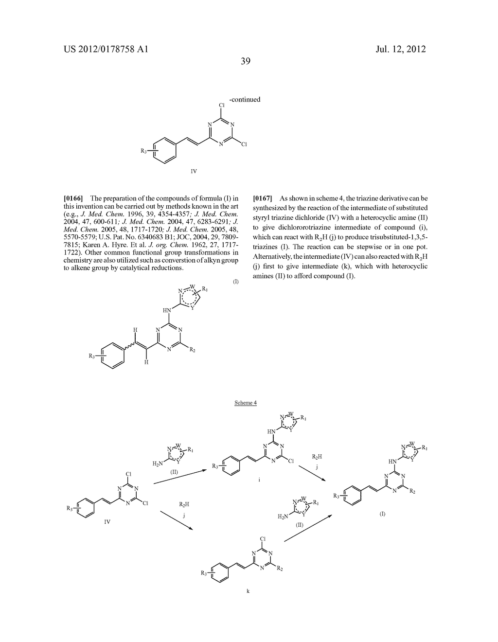 STYRYL-TRIAZINE DERIVATIVES AND THEIR THERAPEUTICAL APPLICATIONS - diagram, schematic, and image 40