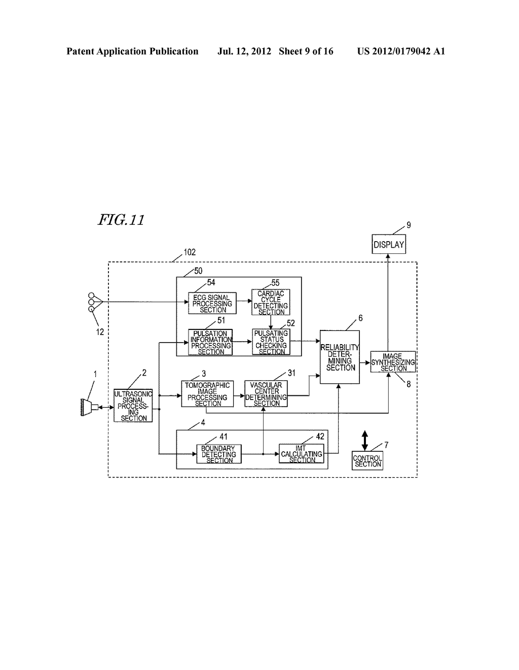 ULTRASONIC DIAGNOSTIC DEVICE, AND METHOD FOR MEASURING INITMA-MEDIA     COMPLEX THICKNESS - diagram, schematic, and image 10