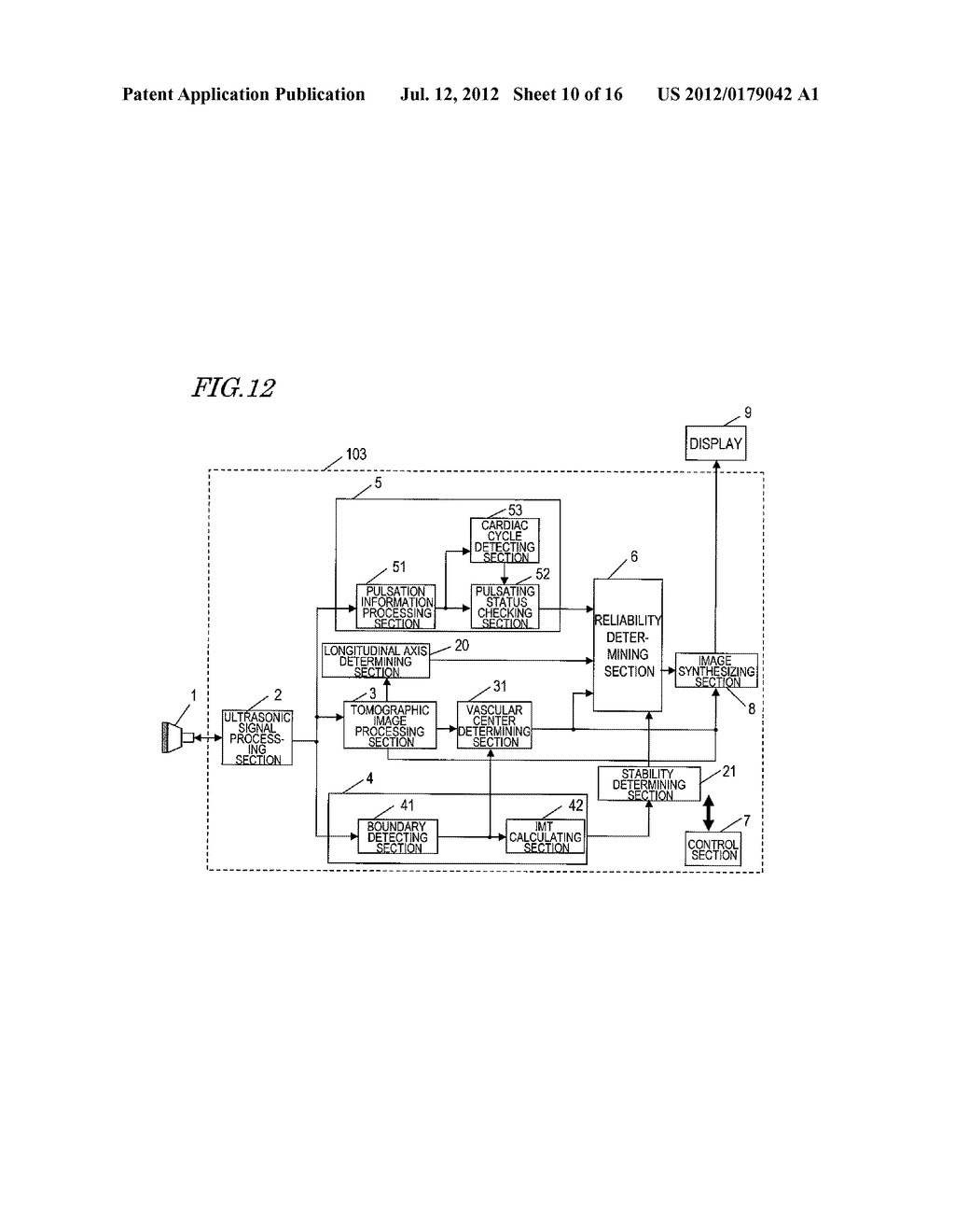 ULTRASONIC DIAGNOSTIC DEVICE, AND METHOD FOR MEASURING INITMA-MEDIA     COMPLEX THICKNESS - diagram, schematic, and image 11
