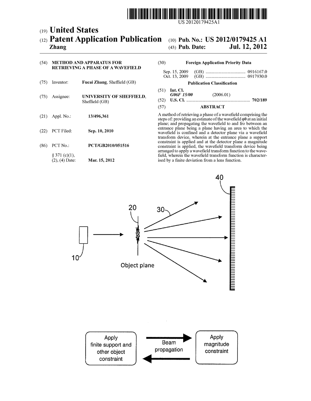 METHOD AND APPARATUS FOR RETRIEVING A PHASE OF A WAVEFIELD - diagram, schematic, and image 01