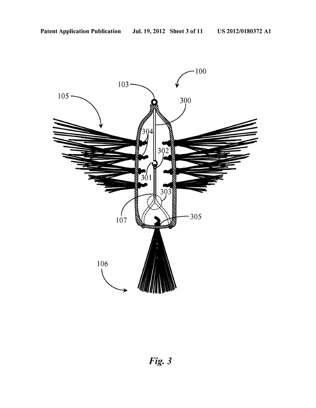 Fishing Lure Imitating Winged Prey - diagram, schematic, and image 04