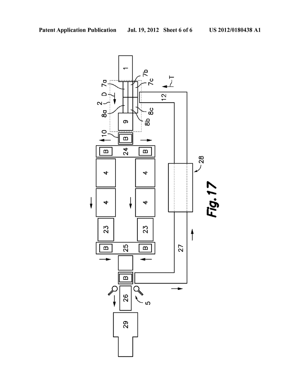 APPARATUS AND METHOD FOR CUTTING SLICES OF A FOOD PRODUCT AND LOADING THEM     ON A CONVEYING SURFACE, AND TREATMENT PLANT INCLUDING SAID APPARATUS - diagram, schematic, and image 07