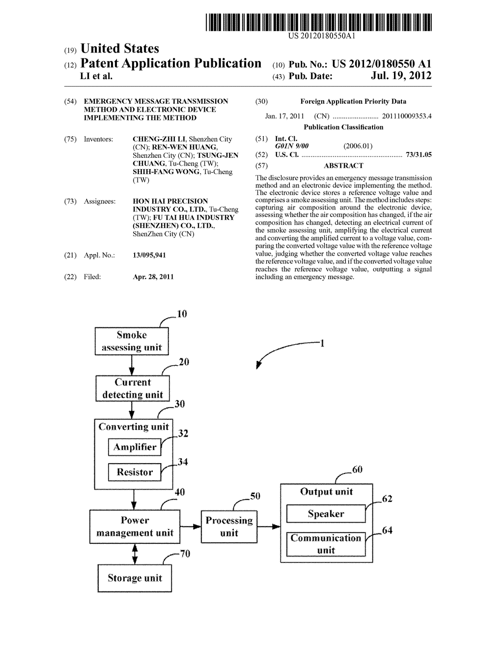 EMERGENCY MESSAGE TRANSMISSION METHOD AND ELECTRONIC DEVICE IMPLEMENTING     THE METHOD - diagram, schematic, and image 01