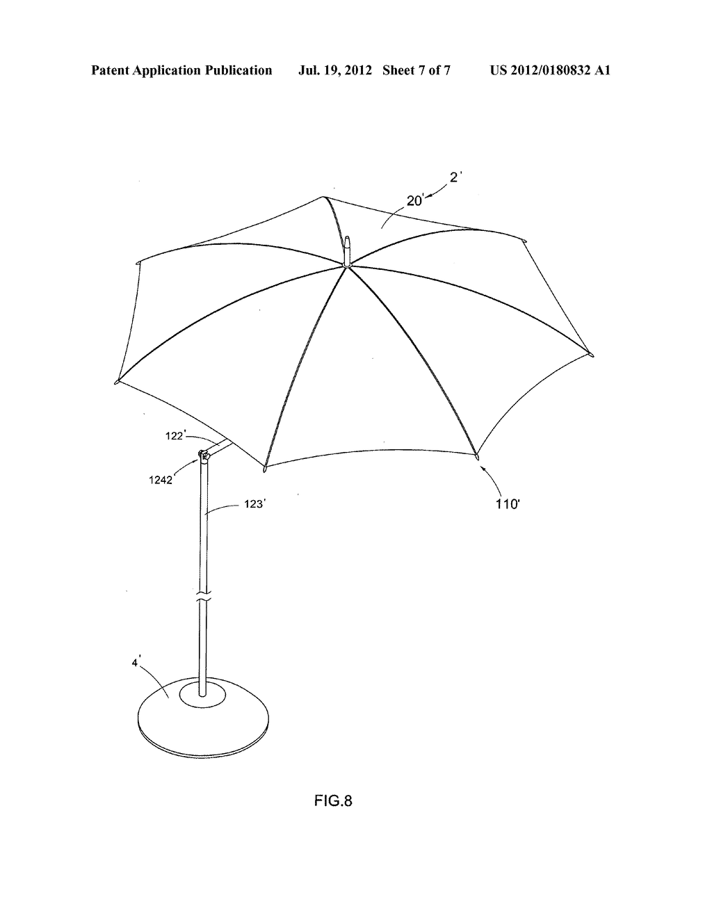 Umbrella with offset shaft - diagram, schematic, and image 08