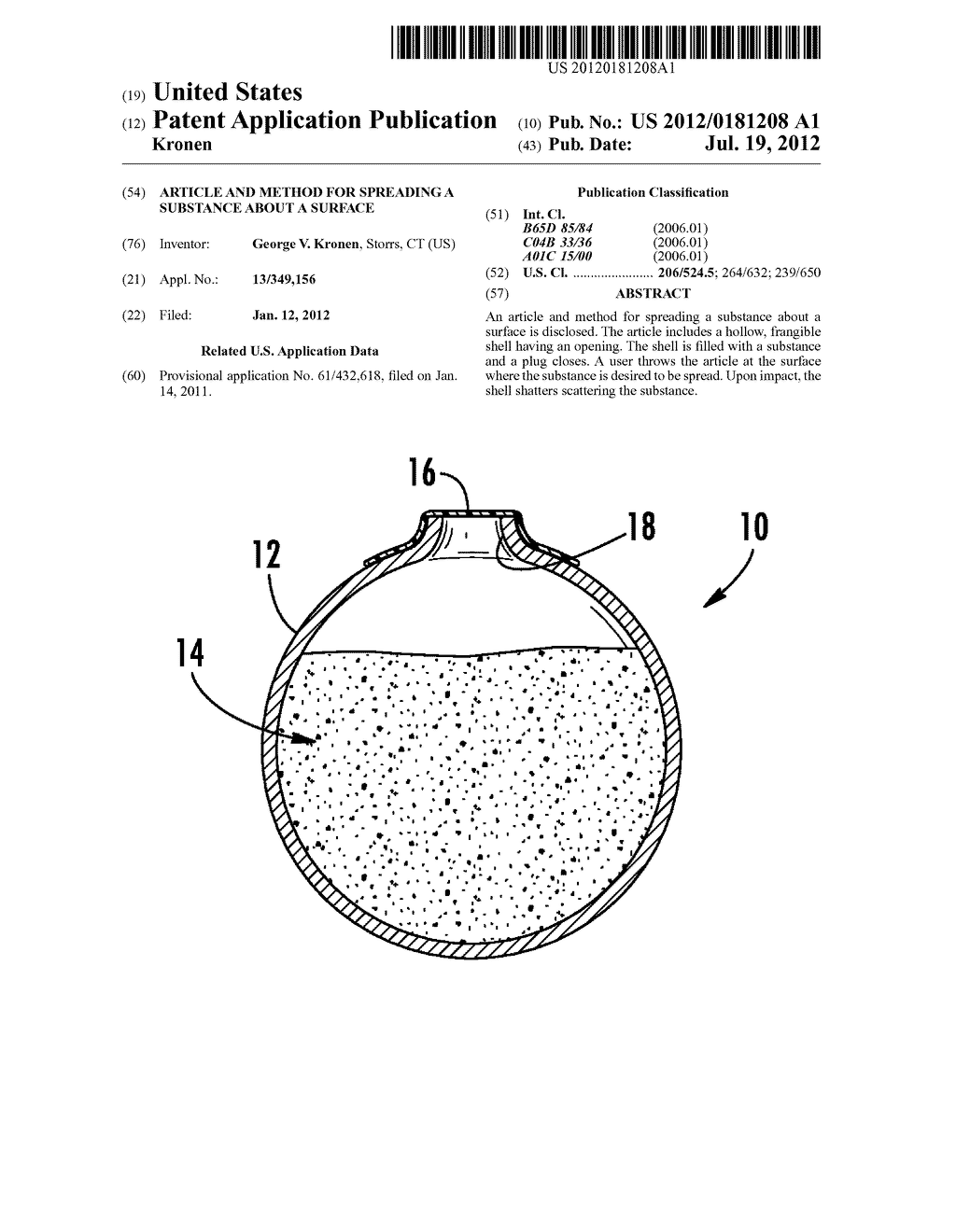 ARTICLE AND METHOD FOR SPREADING A SUBSTANCE ABOUT A SURFACE - diagram, schematic, and image 01