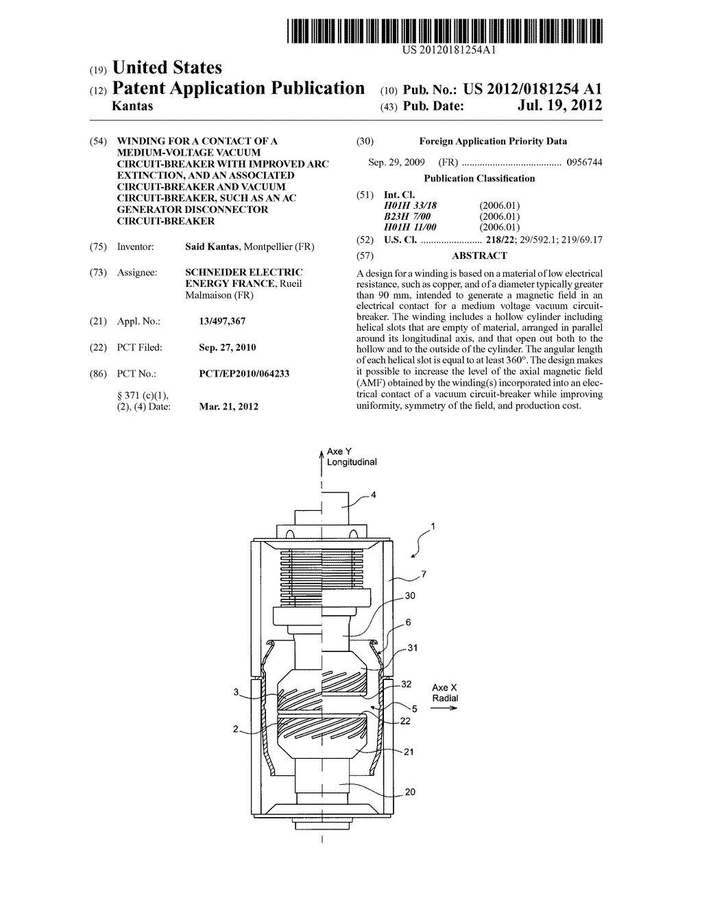WINDING FOR A CONTACT OF A MEDIUM-VOLTAGE VACUUM CIRCUIT