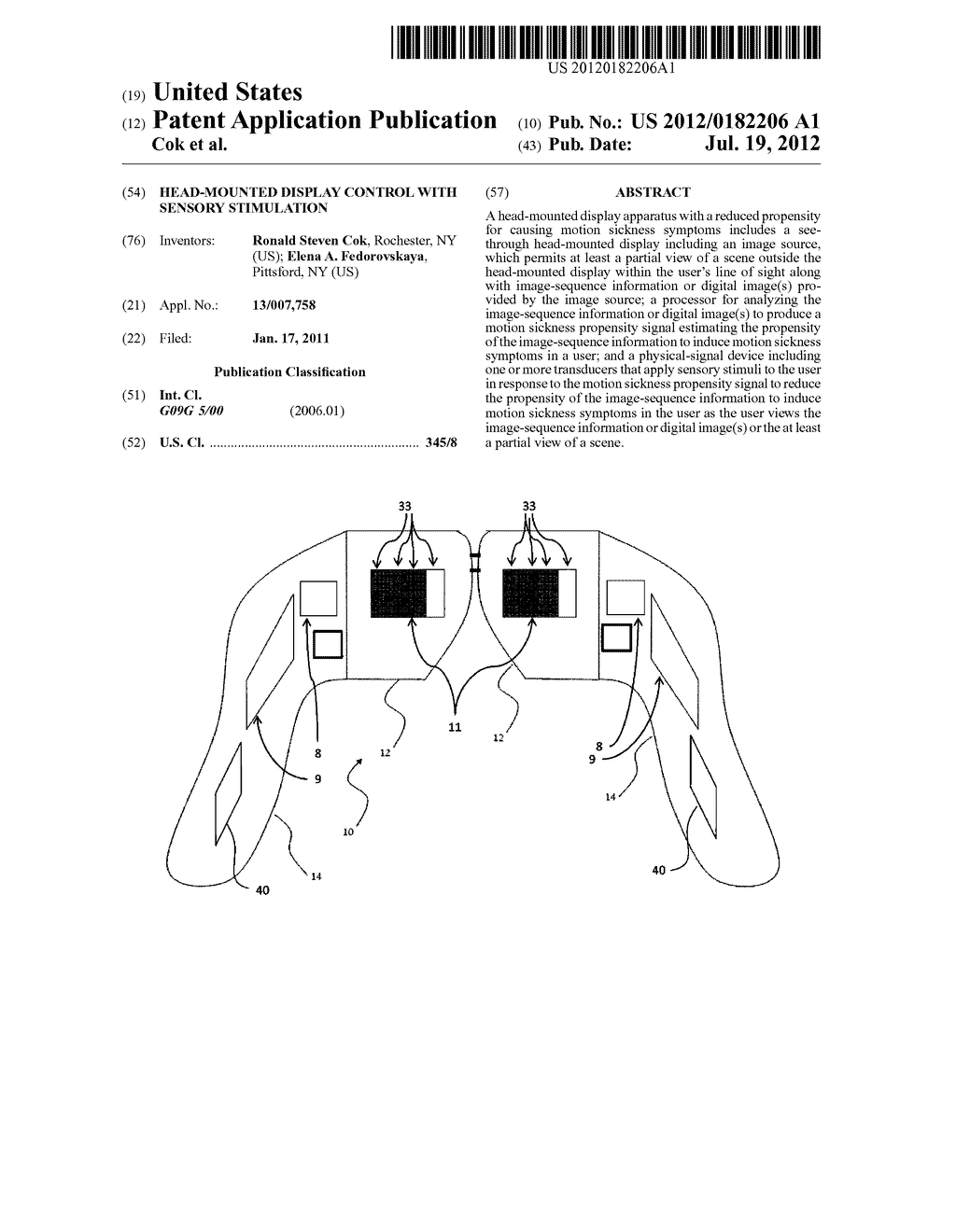 HEAD-MOUNTED DISPLAY CONTROL WITH SENSORY STIMULATION - diagram, schematic, and image 01