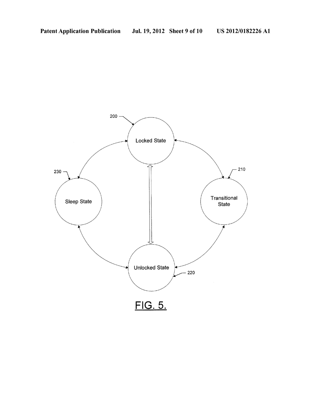 METHOD AND APPARATUS FOR PROVIDING A MULTI-STAGE DEVICE TRANSITION     MECHANISM INITIATED BASED ON A TOUCH GESTURE - diagram, schematic, and image 10