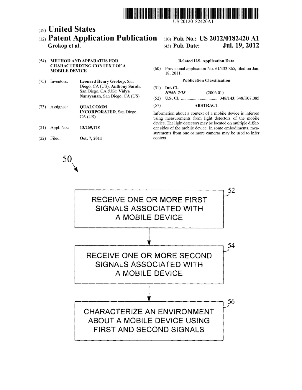 METHOD AND APPARATUS FOR CHARACTERIZING CONTEXT OF A MOBILE DEVICE - diagram, schematic, and image 01