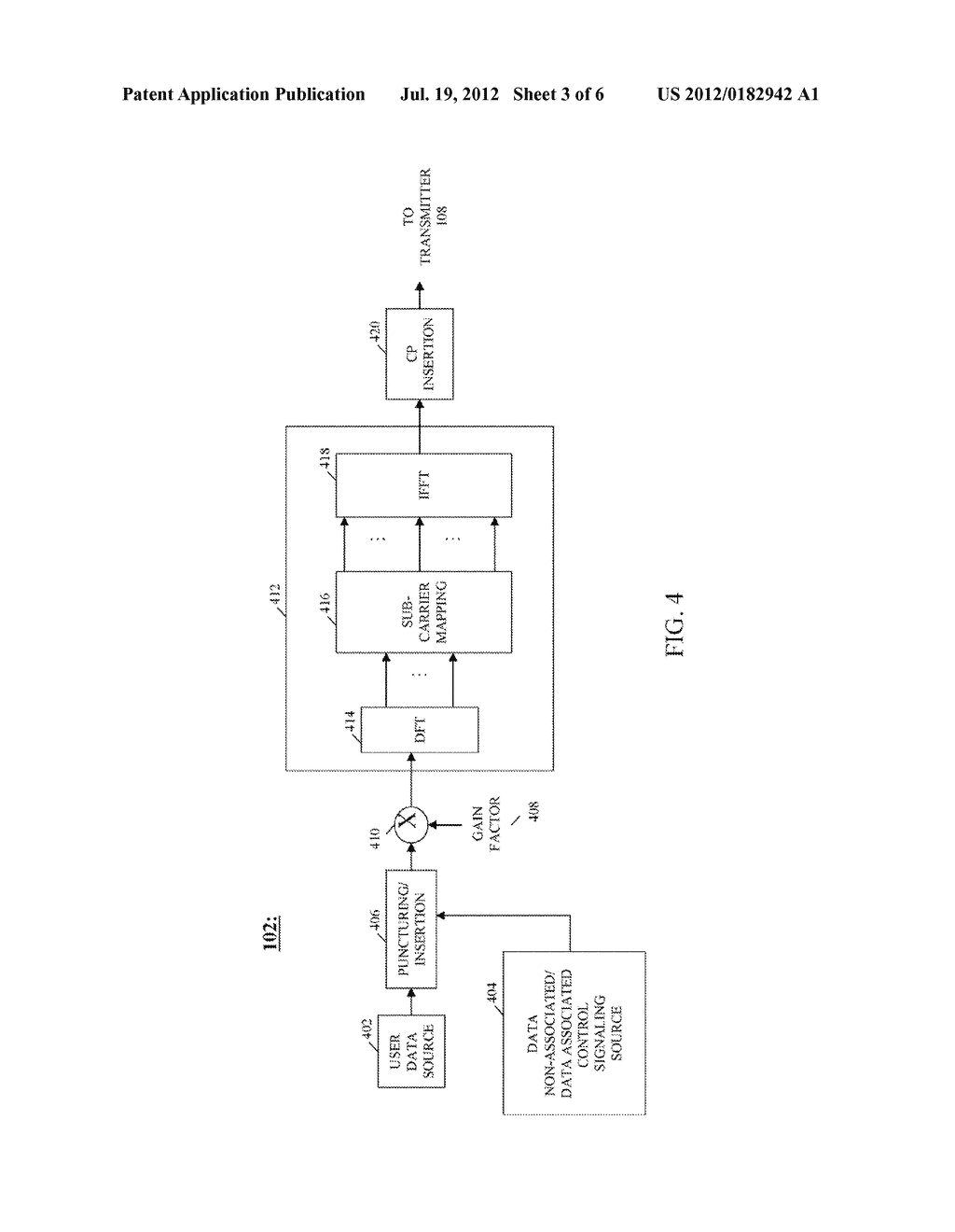 METHOD AND APPARATUS FOR TRANSMISSION OF UPLINK CONTROL SIGNALING AND USER     DATA IN A SINGLE CARRIER ORTHOGONAL FREQUENCY DIVISION MULTIPLEXING     COMMUNICATION SYSTEM - diagram, schematic, and image 04