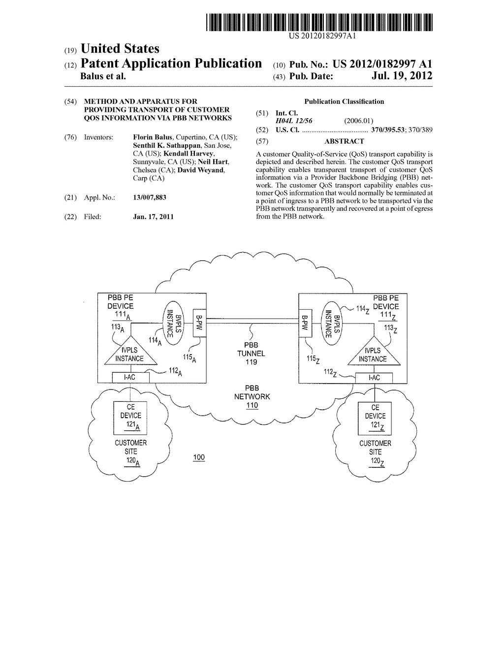 METHOD AND APPARATUS FOR PROVIDING TRANSPORT OF CUSTOMER QOS INFORMATION     VIA PBB NETWORKS - diagram, schematic, and image 01