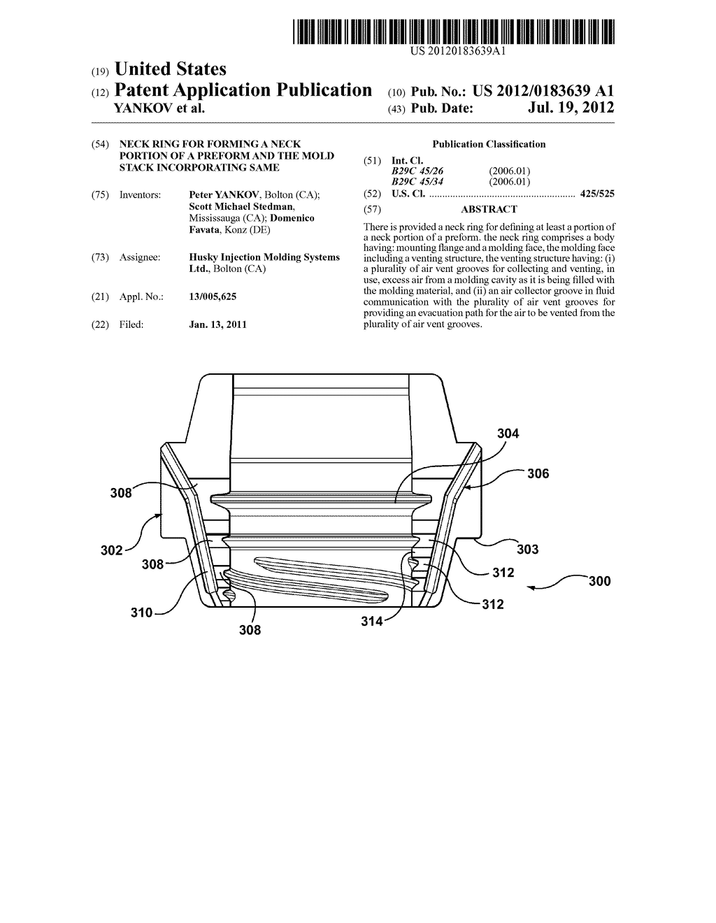 NECK RING FOR FORMING A NECK PORTION OF A PREFORM AND THE MOLD STACK     INCORPORATING SAME - diagram, schematic, and image 01
