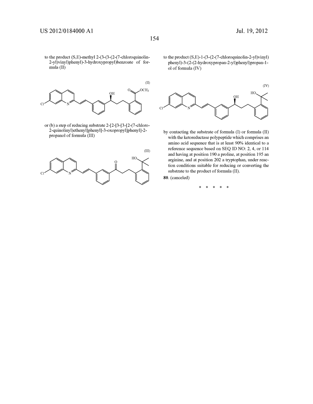 KETOREDUCTASE POLYPEPTIDES FOR THE PRODUCTION OF (S,E)-METHYL     2-(3-(3-(2-(7-CHLOROQUINOLIN-2-YL)VINYL)PHENYL)-3-HYDROXYPROPYL)BENZOATE - diagram, schematic, and image 156