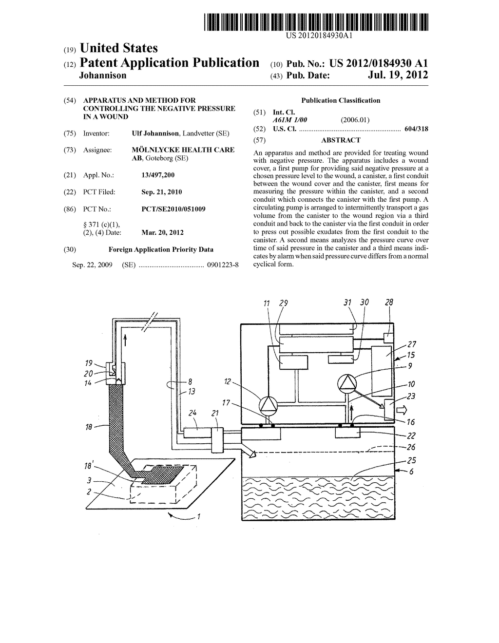 APPARATUS AND METHOD FOR CONTROLLING THE NEGATIVE PRESSURE IN A WOUND - diagram, schematic, and image 01