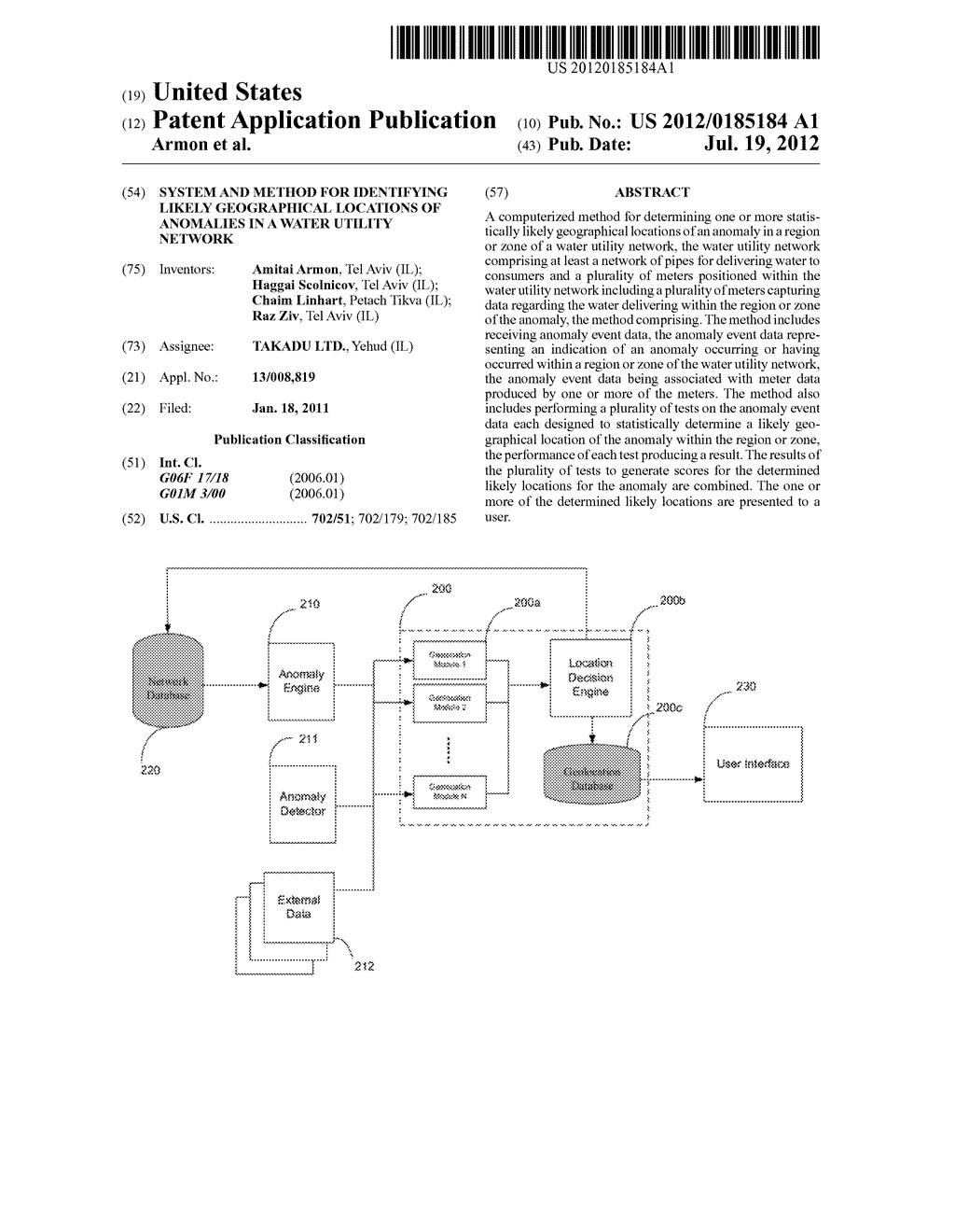SYSTEM AND METHOD FOR IDENTIFYING LIKELY GEOGRAPHICAL LOCATIONS OF     ANOMALIES IN A WATER UTILITY NETWORK - diagram, schematic, and image 01