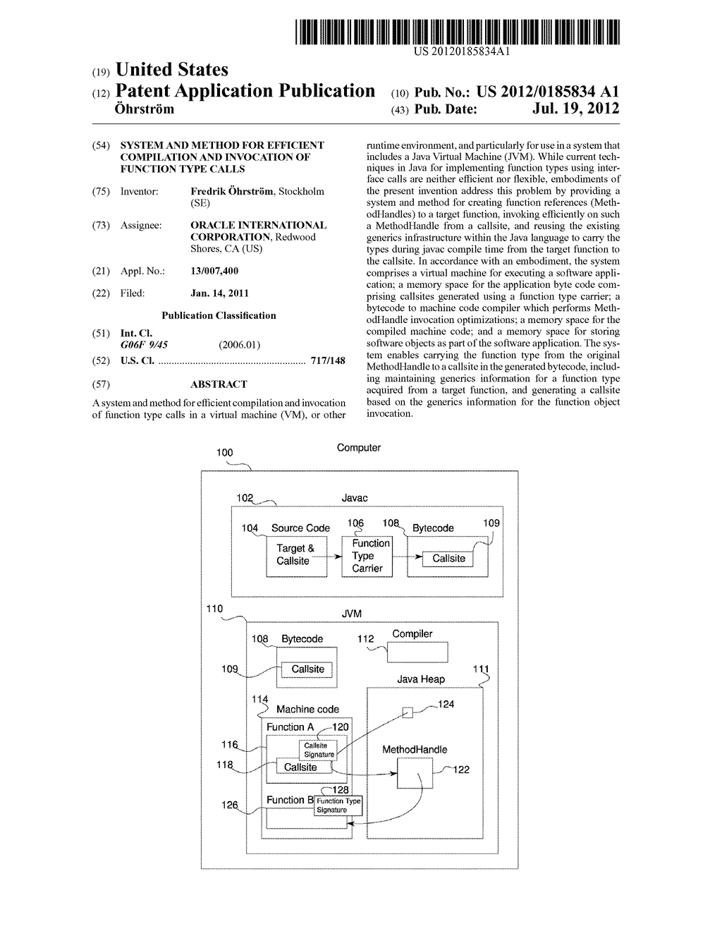 SYSTEM AND METHOD FOR EFFICIENT COMPILATION AND INVOCATION OF FUNCTION     TYPE CALLS - diagram, schematic, and image 01