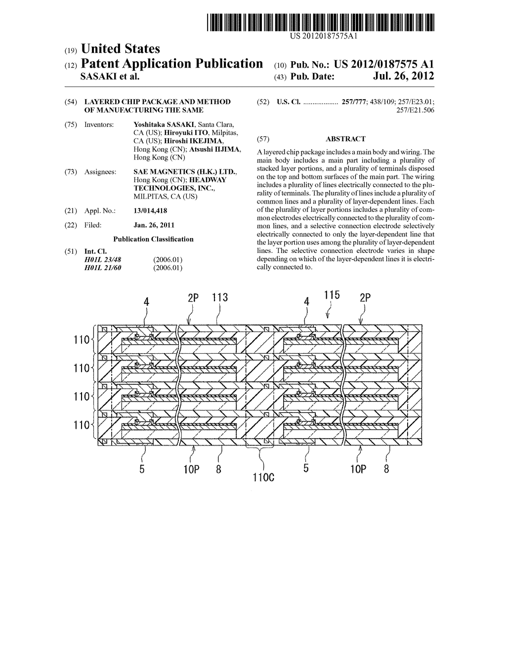 LAYERED CHIP PACKAGE AND METHOD OF MANUFACTURING THE SAME - diagram, schematic, and image 01