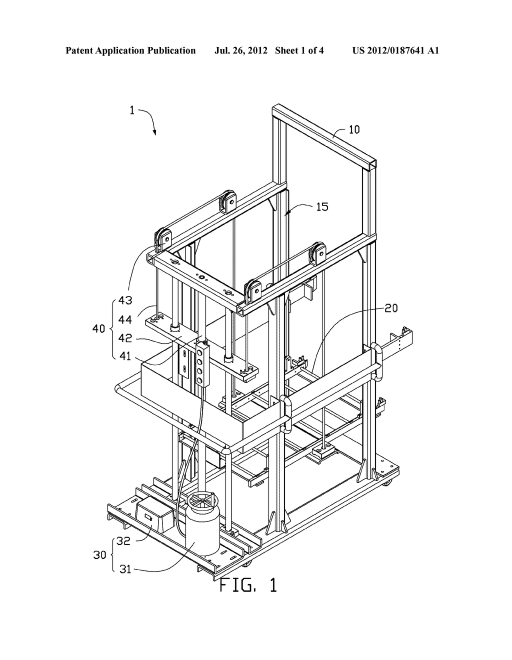 CART WITH HEIGHT ADJUSTABLE TRAY - diagram, schematic, and image 02