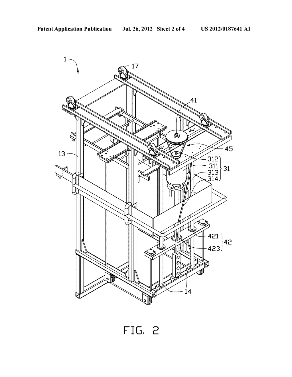 CART WITH HEIGHT ADJUSTABLE TRAY - diagram, schematic, and image 03
