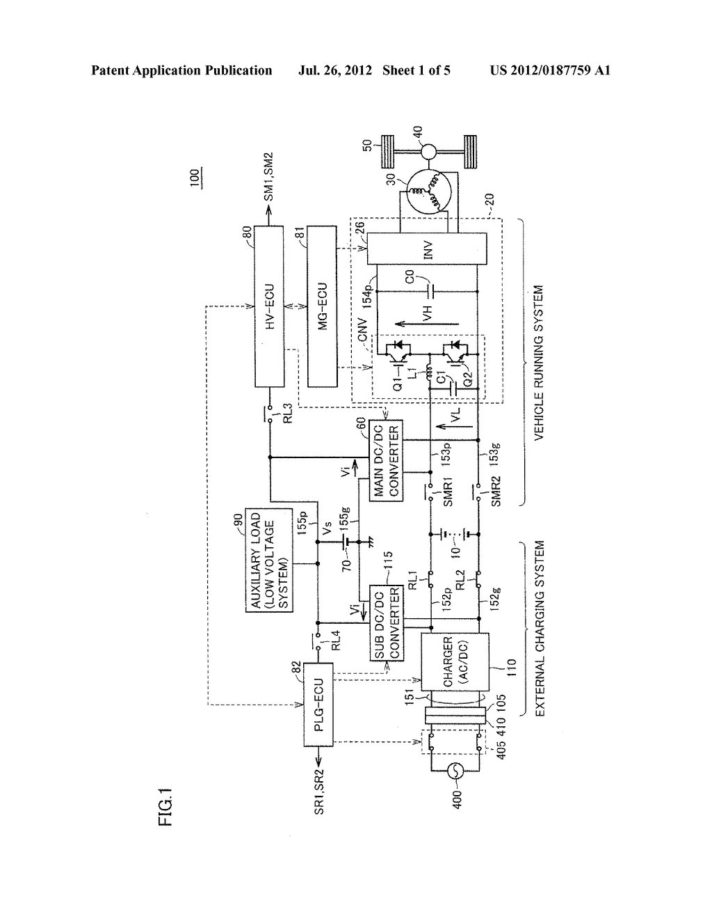 POWER SOURCE SYSTEM FOR ELECTRIC POWERED VEHICLE - diagram, schematic, and image 02