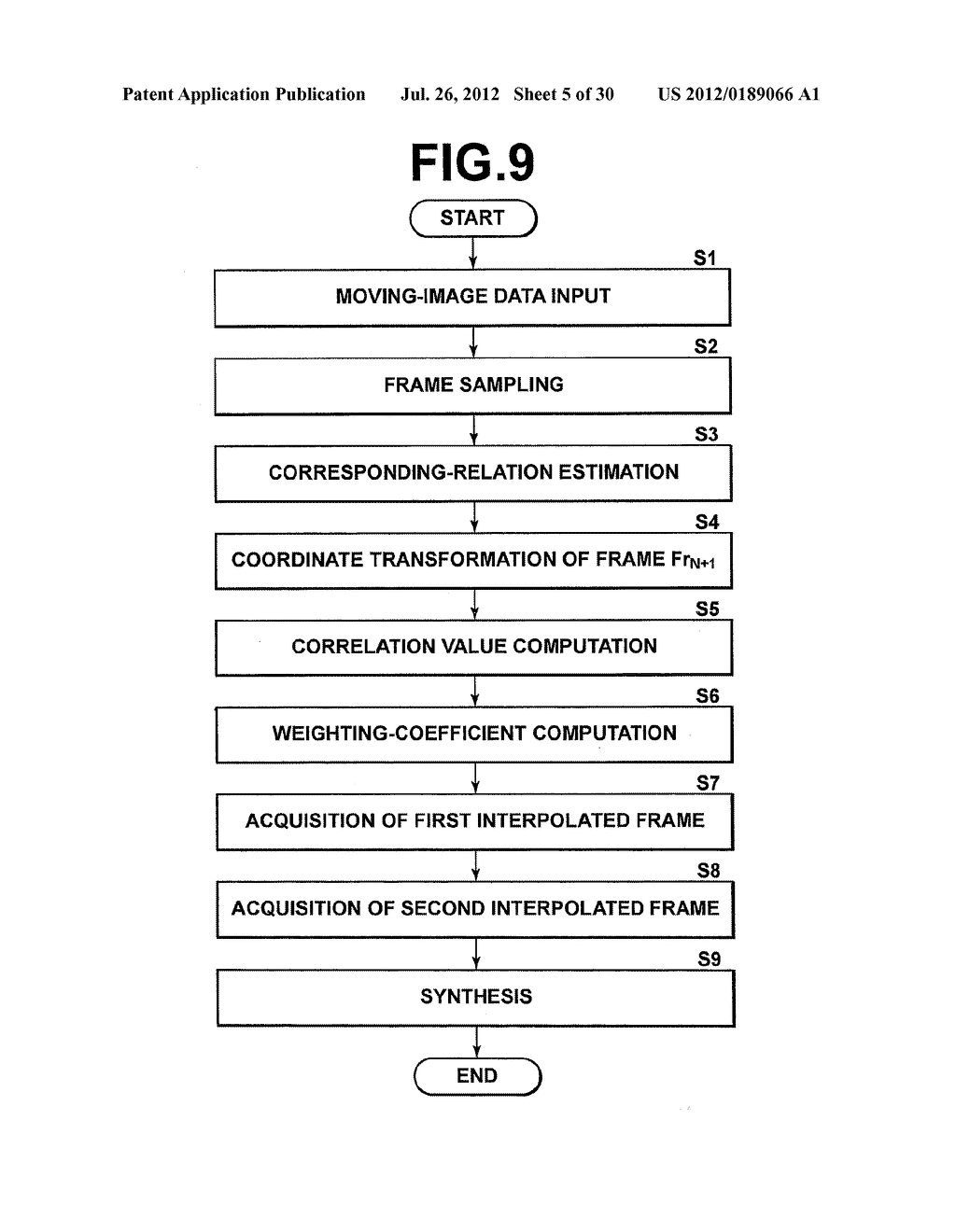 METHOD AND DEVICE FOR VIDEO IMAGE PROCESSING, CALCULATING THE SIMILARITY     BETWEEN VIDEO FRAMES, AND ACQUIRING A SYNTHESIZED FRAME BY SYNTHESIZING A     PLURALITY OF CONTIGUOUS SAMPLED FRAMES - diagram, schematic, and image 06
