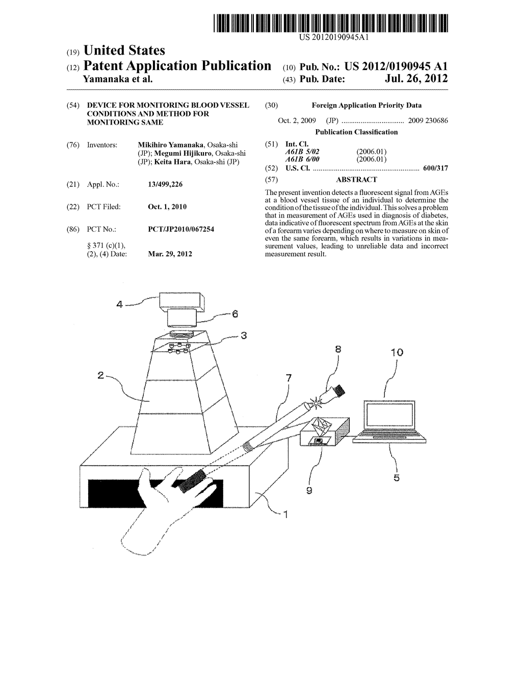 DEVICE FOR MONITORING BLOOD VESSEL CONDITIONS AND METHOD FOR MONITORING     SAME - diagram, schematic, and image 01
