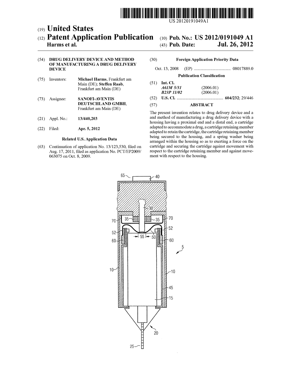 DRUG DELIVERY DEVICE AND METHOD OF MANUFACTURING A DRUG DELIVERY DEVICE - diagram, schematic, and image 01