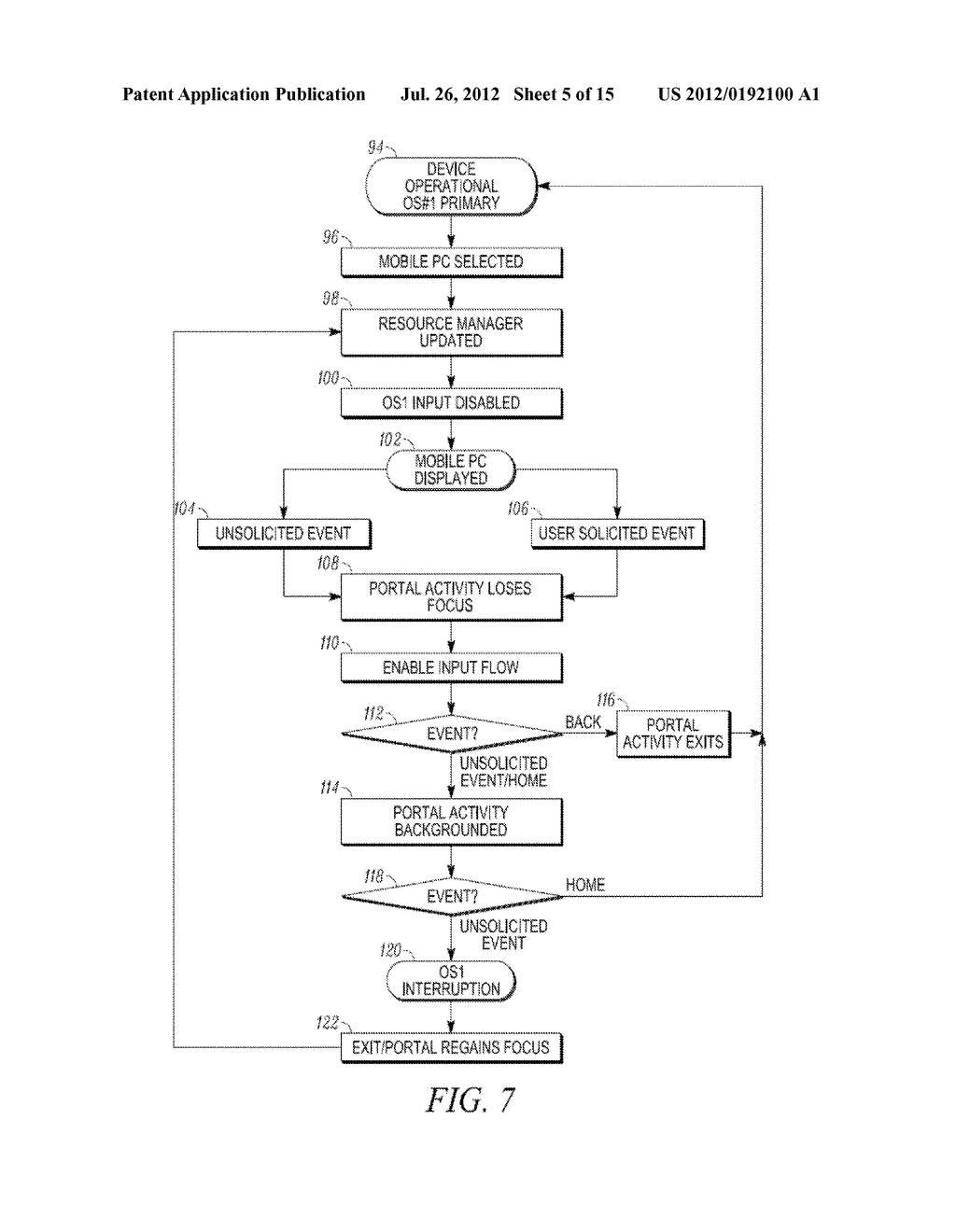 METHOD AND APPARATUS FOR LOCKING AND UNLOCKING MULTIPLE OPERATING SYSTEM     ENVIRONMENTS WITH A SINGLE GESTURE INPUT - diagram, schematic, and image 06
