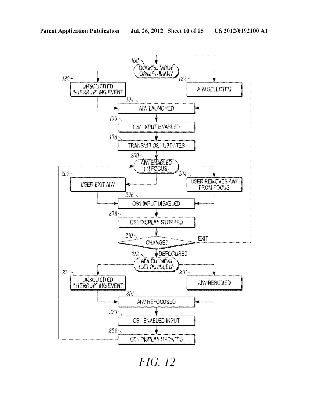 METHOD AND APPARATUS FOR LOCKING AND UNLOCKING MULTIPLE OPERATING SYSTEM     ENVIRONMENTS WITH A SINGLE GESTURE INPUT - diagram, schematic, and image 11