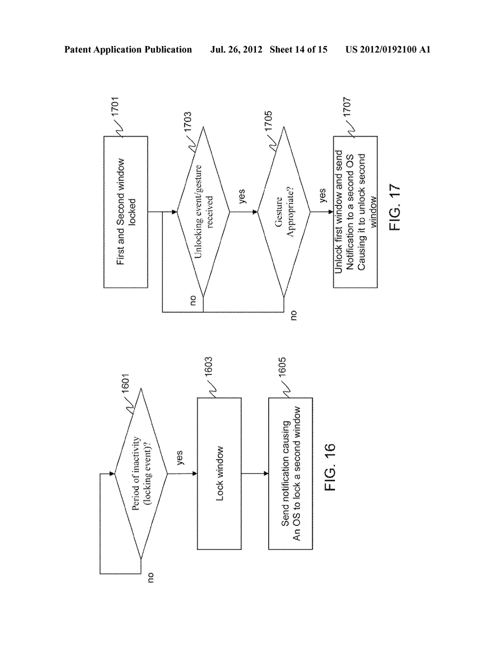 METHOD AND APPARATUS FOR LOCKING AND UNLOCKING MULTIPLE OPERATING SYSTEM     ENVIRONMENTS WITH A SINGLE GESTURE INPUT - diagram, schematic, and image 15