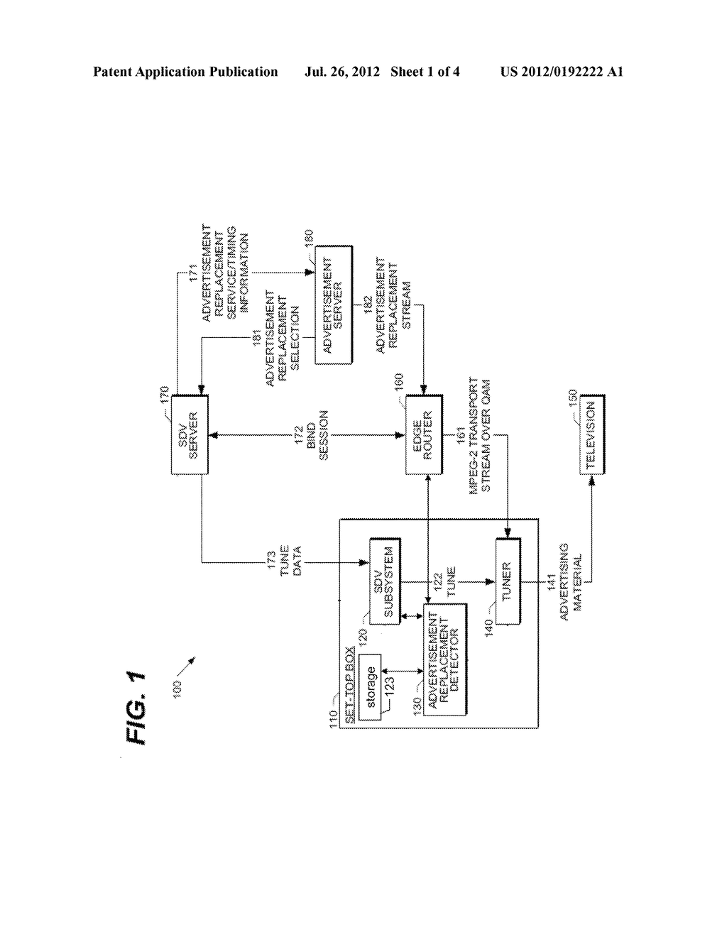METHOD AND APPARATUS FOR MANAGING TARGETED ADVERTISEMENTS FOR A LINEAR     TELEVISION SERVICE - diagram, schematic, and image 02