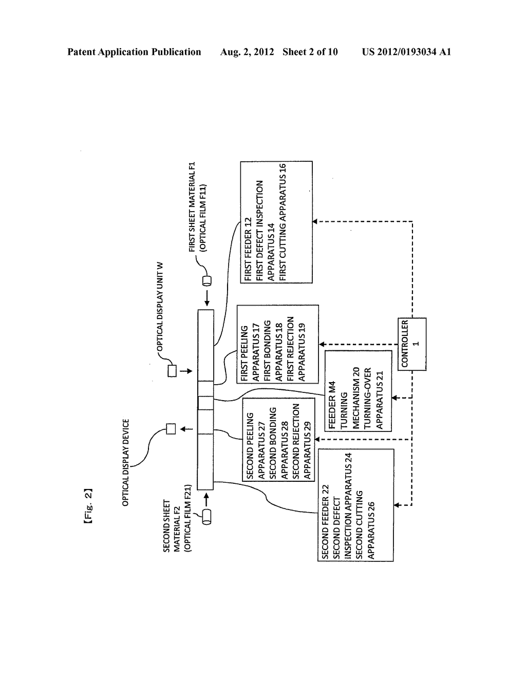 MANUFACTURING SYSTEM AND MANUFACTURING METHOD FOR OPTICAL DISPLAY DEVICE - diagram, schematic, and image 03