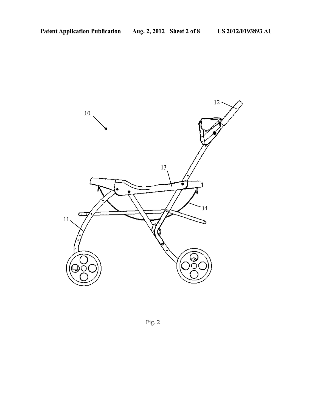 STROLLER WITH A RECEIVING FRAME AND SUPPORT STRAPS FOR RECEIVING CAR SEATS - diagram, schematic, and image 03