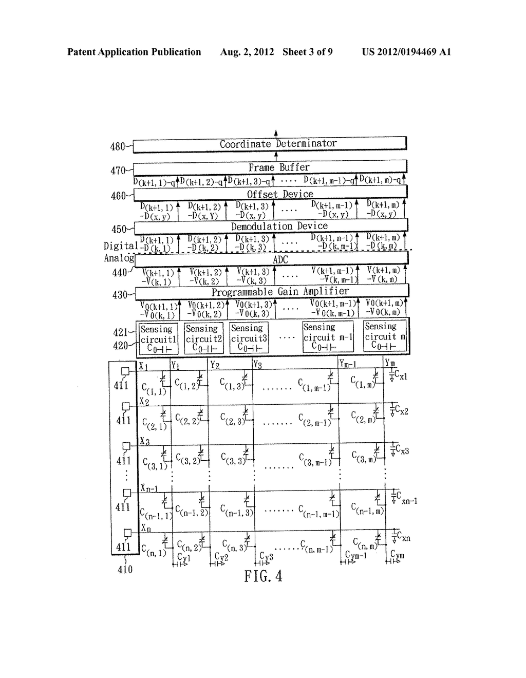 DEMODULATION METHOD AND SYSTEM FOR A LOW-POWER DIFFERENTIAL SENSING     CAPACITIVE TOUCH PANEL - diagram, schematic, and image 04