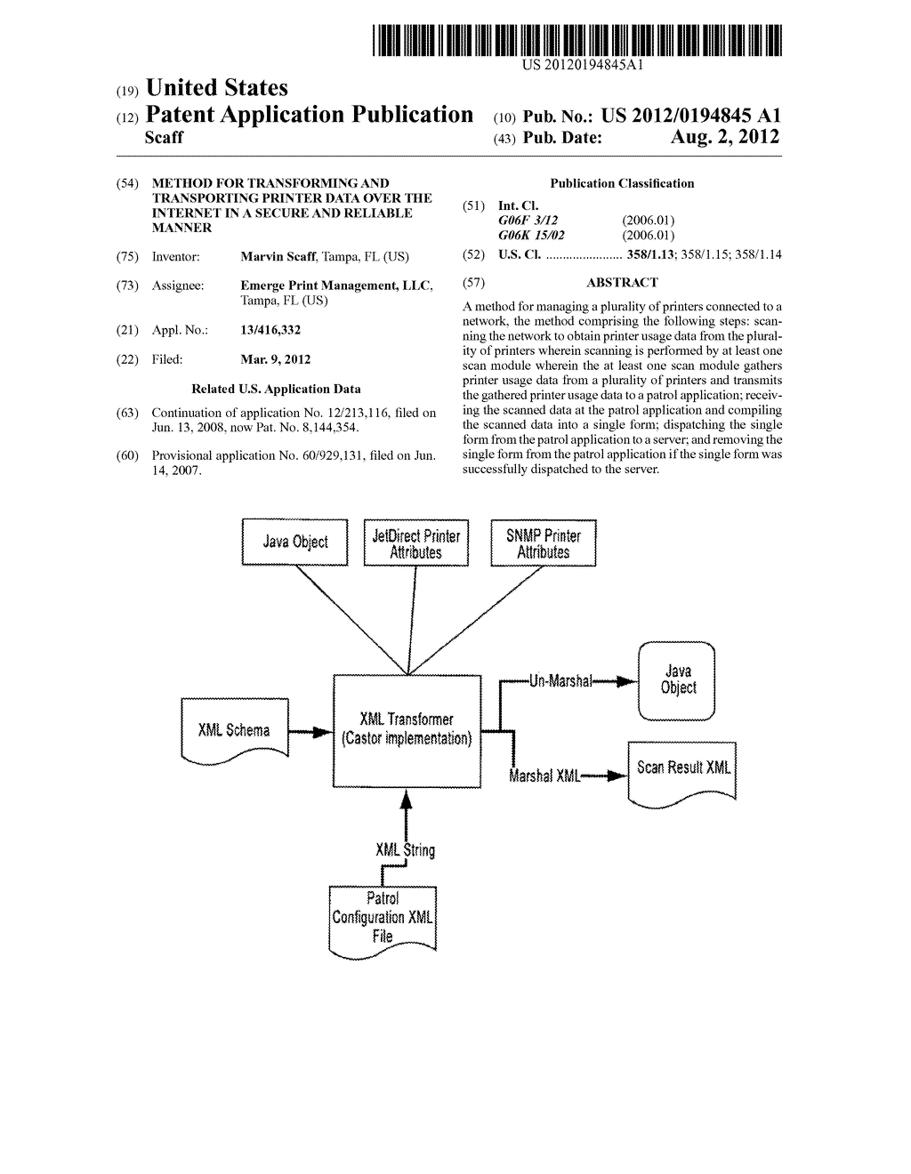 METHOD FOR TRANSFORMING AND TRANSPORTING PRINTER DATA OVER THE INTERNET IN     A SECURE AND RELIABLE MANNER - diagram, schematic, and image 01