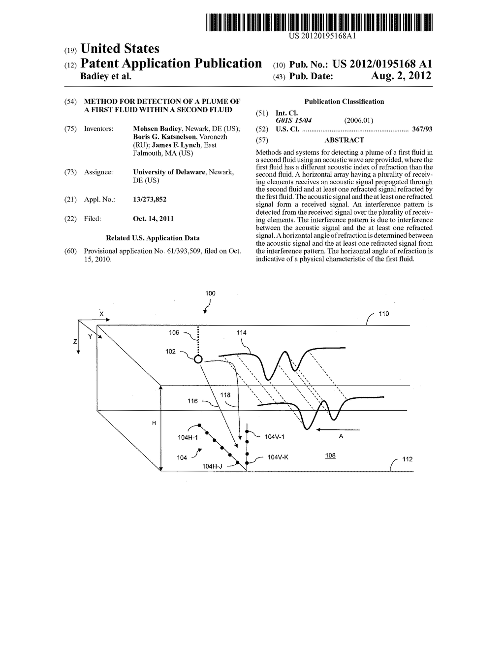 METHOD FOR DETECTION OF A PLUME OF A FIRST FLUID WITHIN A SECOND FLUID - diagram, schematic, and image 01