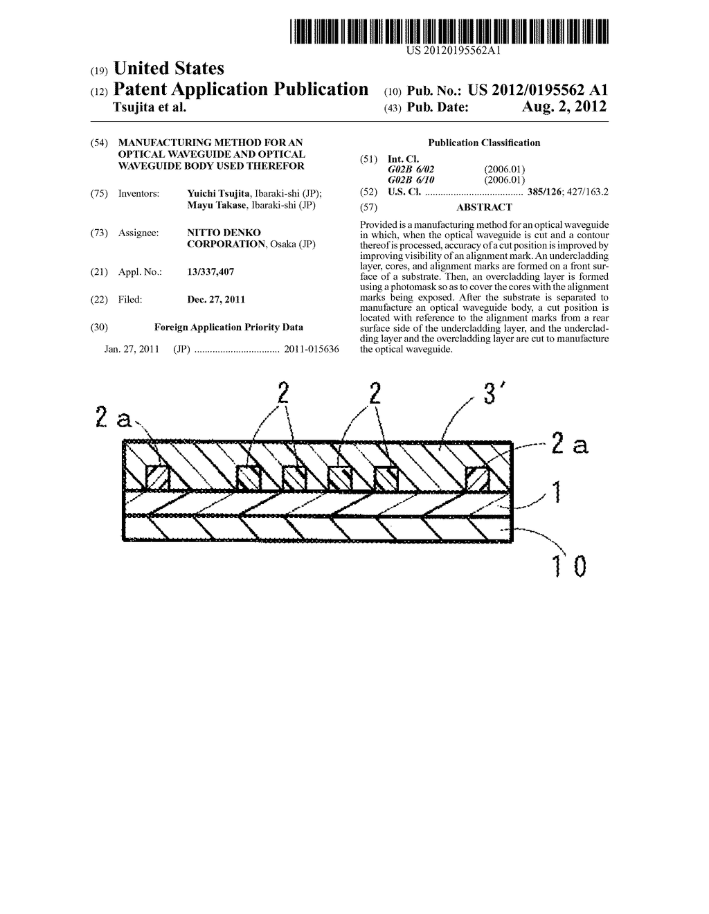 MANUFACTURING METHOD FOR AN OPTICAL WAVEGUIDE AND OPTICAL WAVEGUIDE BODY     USED THEREFOR - diagram, schematic, and image 01