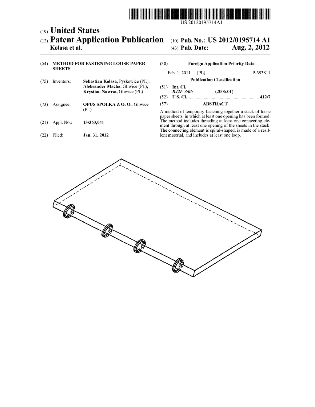 METHOD FOR FASTENING LOOSE PAPER SHEETS - diagram, schematic, and image 01