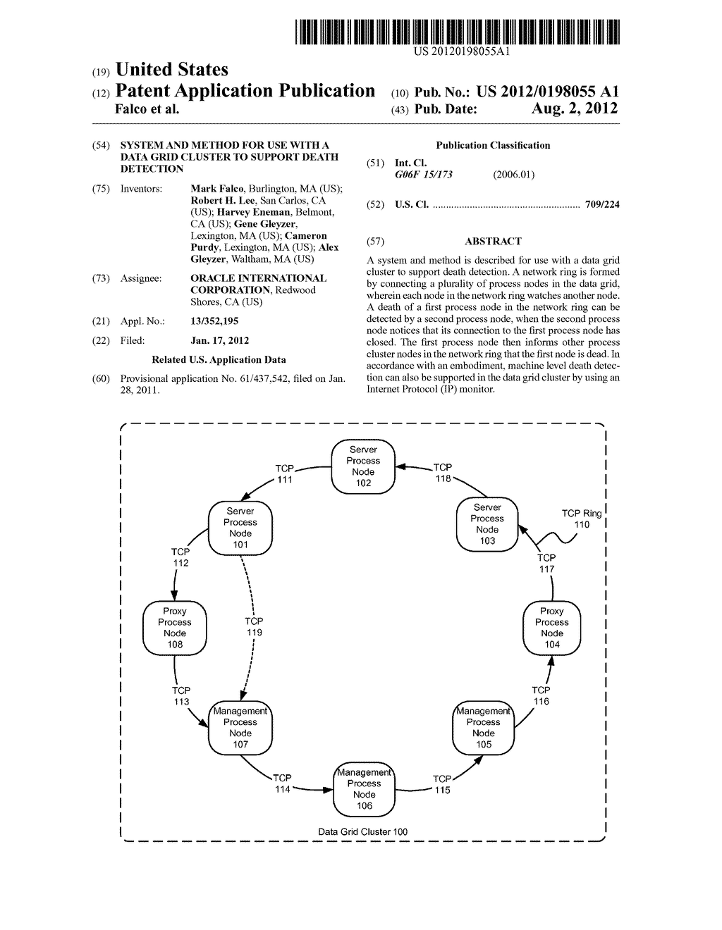 SYSTEM AND METHOD FOR USE WITH A DATA GRID CLUSTER TO SUPPORT DEATH     DETECTION - diagram, schematic, and image 01