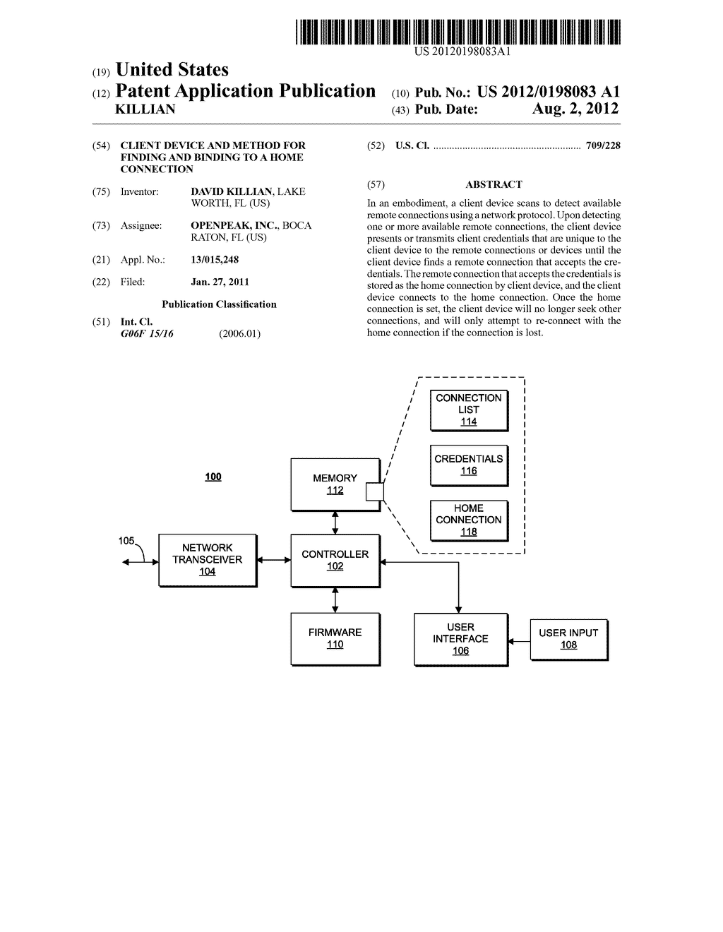 CLIENT DEVICE AND METHOD FOR FINDING AND BINDING TO A HOME CONNECTION - diagram, schematic, and image 01
