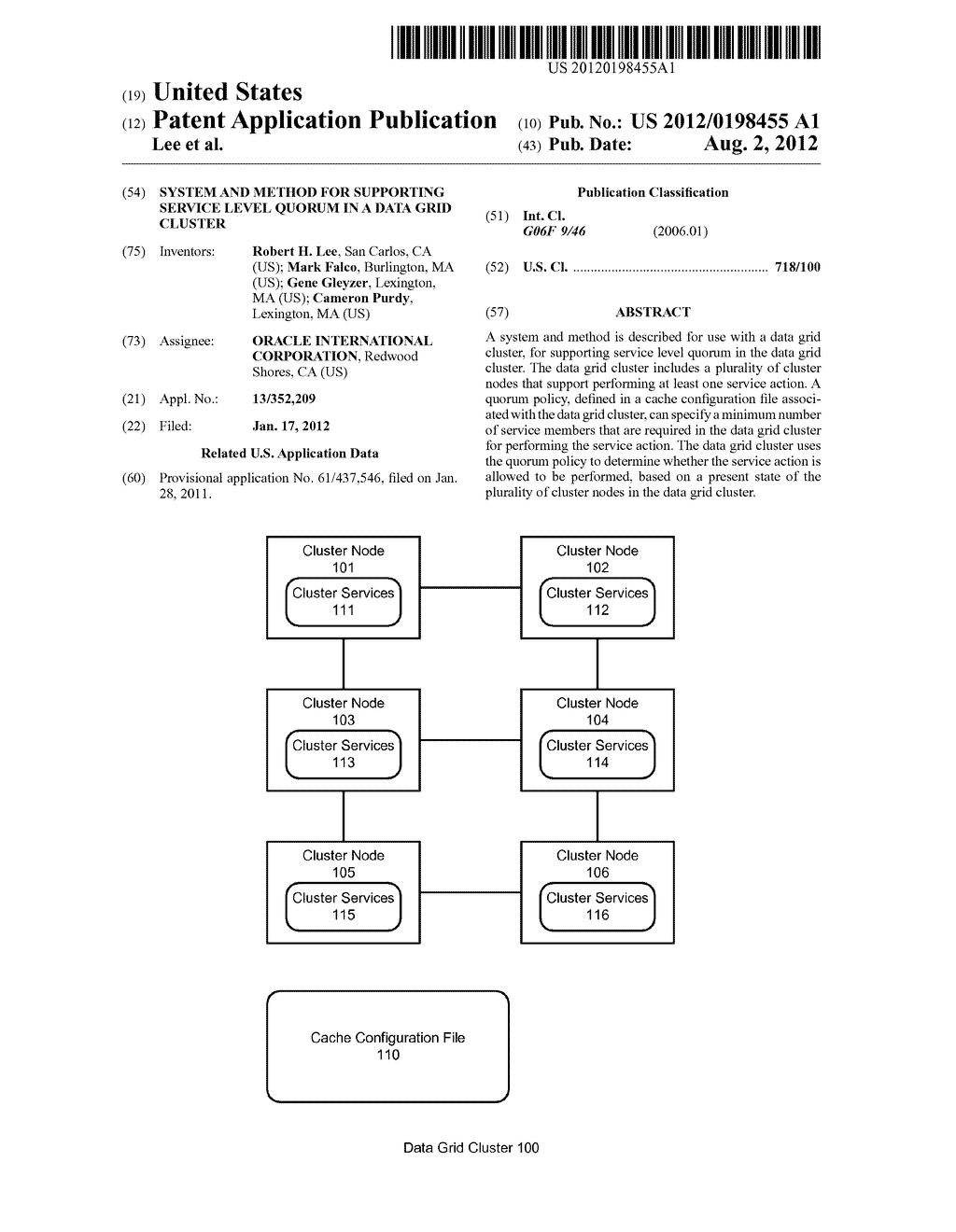 SYSTEM AND METHOD FOR SUPPORTING SERVICE LEVEL QUORUM IN A DATA GRID     CLUSTER - diagram, schematic, and image 01