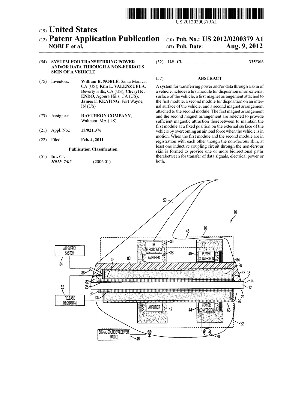 SYSTEM FOR TRANSFERRING POWER AND/OR DATA THROUGH A NON-FERROUS SKIN OF A     VEHICLE - diagram, schematic, and image 01